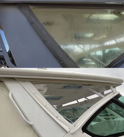 before after Judy Olsen's Boat Décor LLC Covers All Your Boat's Needs